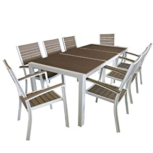 9tlg gartengarnitur sitzgarnitur sitzgruppe polywood tischplatte aluminium. Black Bedroom Furniture Sets. Home Design Ideas