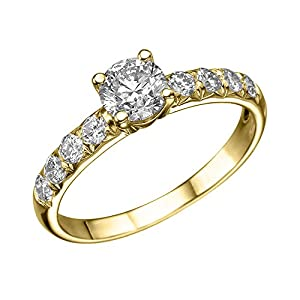 GIA Certified 14k yellow-gold Round Cut Diamond Engagement Ring (0.83 cttw, E Color, SI2 Clarity)