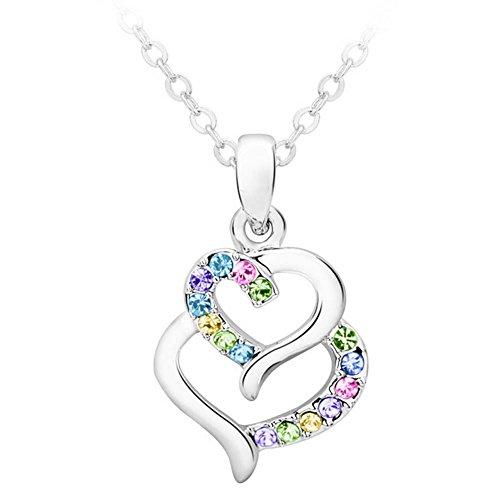[HelloAngela Lady Fashion Elegant Crystal Necklace Heart to Heart(C2)] (Brazilian Costume Ideas For Men)
