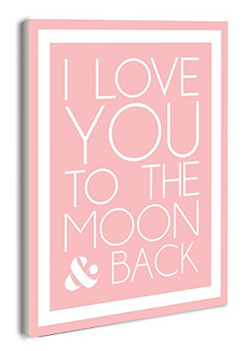 The Kids Room by Stupell I Love You to the Moon and Back on Pink with White Border Rectangle Wall Plaque