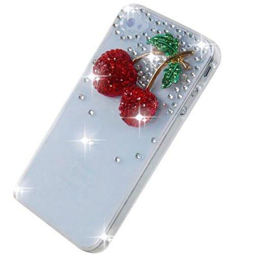 Semoss Custodia in Strass Diamante per Apple iPhone 5C con Rosso Ciliegia Cover Rigida in Trasparente