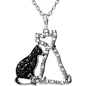 Sterling Silver Black Diamond Cat and White Diamond Dog Necklace
