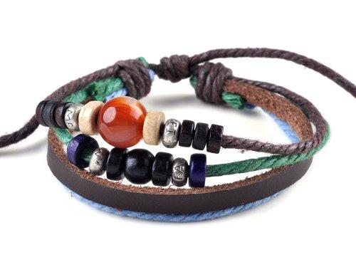 imixlot Suffer Hemp Charm Beads Leather Bracelet Unisex Wristband Bangle