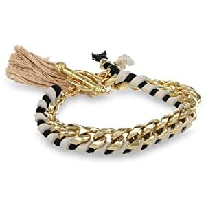 Ettika Cream Leather and Gold Chain Tassel and Toggle Closure Bracelet, 7