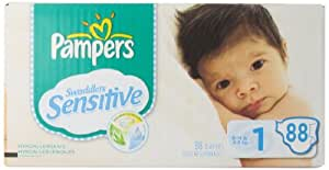 Pampers Swaddlers Sensitive Diapers Super Pack Size 1, 88 Count