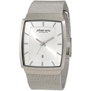 Johan Eric Men's JE1004-04-001 Tondor Tonneau Silver Mesh Stainless Steel Watch
