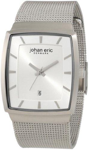 Johan Eric JE1004-04-001 - Reloj analógico de cuarzo para hombre con correa de acero inoxidable, color plateado