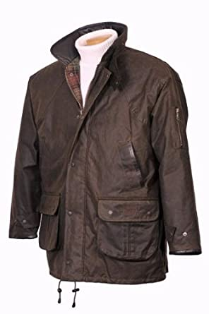 Hunter Outdoor Winchester Deluxe Mens Wax Jacket Inc Free Tin of Wax Proofing - Large - Antique Brown
