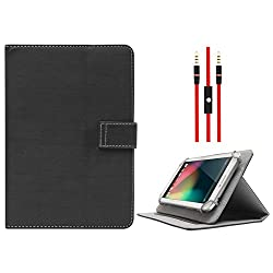 DMG Protective Flip Book Cover Stand View Case for Asus Fonepad 7 ME175CG (Black) + 3.5mm Flat AUX Cable with Mic