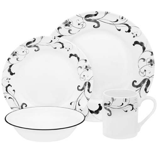 Corelle-Impressions-16-Piece-Set-Service-for-4-includes-4-each-10-34-inch-Dinner-Plates-8-12-inch-Luncheon-Plates-18-ounce-SoupCerealBowls-11-ounce-Stoneware-Mugs-Faenza