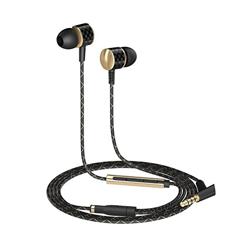 AUKEY Headphones, In-Ear Earbuds with Carbon Fiber Housing, Built-in Microphone and Remote for iPhone, Android Cell Phone, TV and More (Carbon Fiber Headphones compare prices)