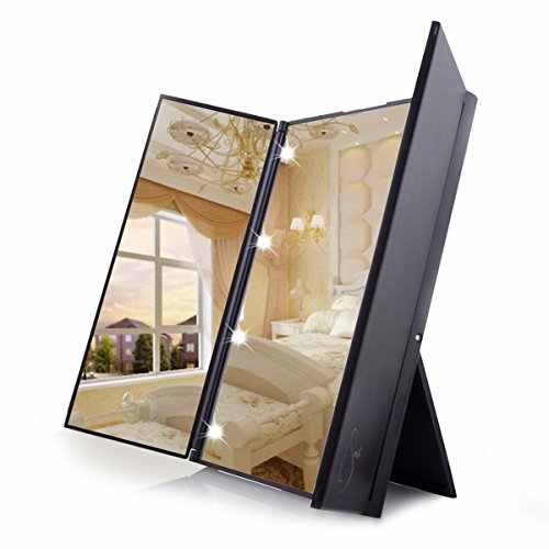 Travel mirror luckyfine tri fold lighted led mirror for Miroir 3 faces pour coiffeuse