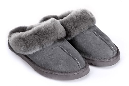 Cheap Sheep Touch Women's Twin-Face Australian Sheepskin Classic Slippers Grey (B006ZTU5O6)