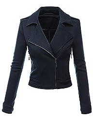 Doublju Womens Zip-up Hood Jacket in Fine Stretch Cotton
