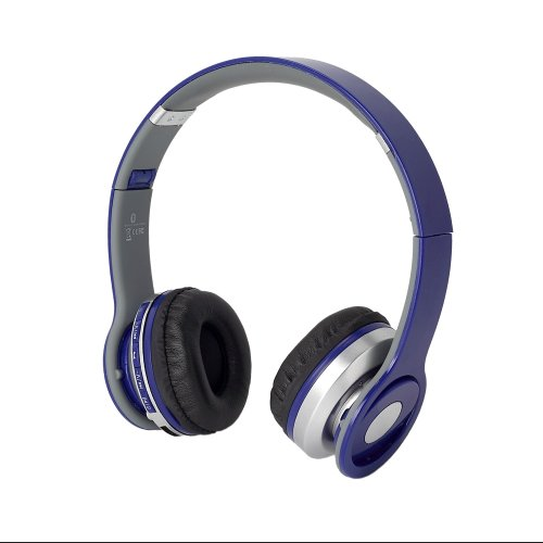 Universal Wireless Bluetooth Over-Ear Foldable Headphones With Volume, Track, Phone Call Controls, Blue