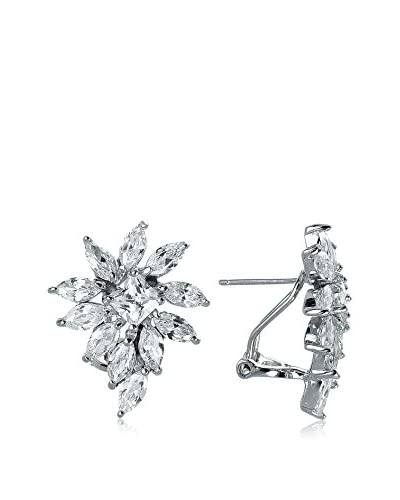 Genevive CZ & Sterling Silver Floral Cluster Earrings As You See