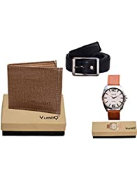 Combo Pack Of Beige Denim Shade Wallet With Black Belt With YuniiQ Tan Color Formal Wrist Watch.