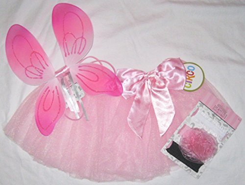 Pink Fairy Angel Costume Toddler Infant 3 Pcs Tutu Wings Rose Headwrap Halloween