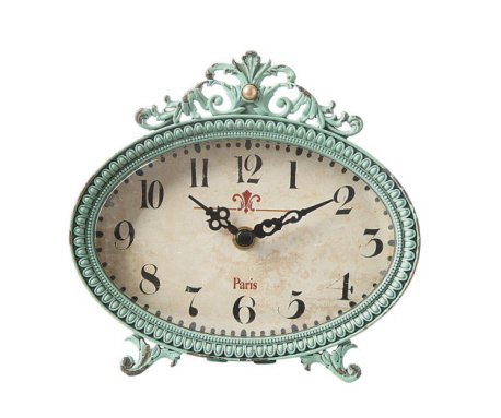 6 by 6 inch Pewter Table Clock, Aqua