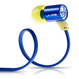 JLab JBuds J4 Heavy Bass Metal In-Ear Earbuds Style Headphones with Travel Case  (Blue / Yellow)