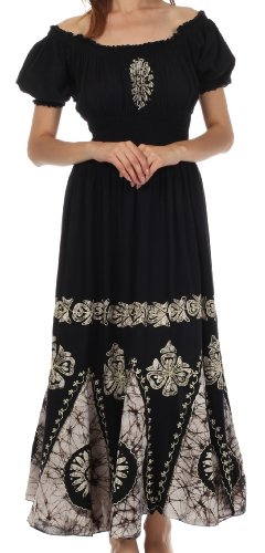 Sakkas 0802 Batik Sunshine Peasant Dress - Black / White - One Size