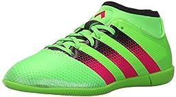 adidas Performance Ace 16.3 Primemesh IN J Soccer Shoe (Little Kid/Big Kid),Green/Shock Pink/Black,5.5 M US Big Kid