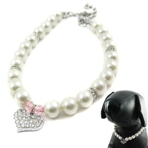 Pinky Crystal Heart Pearl Necklace - Size: S (8