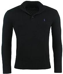 Polo Ralph Lauren Men\'s 3 Button Mock Neck Sweater-Black-Small