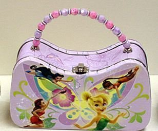 DISNEY TINKERBELL & FRIENDS LUNCH BOX/PURSE WITH BEAD PURPLE