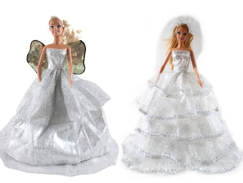 Barbie Angel Wing Gown & Bride Barbie Wedding Gown (2 Gown Set) - Dolls NOT Included