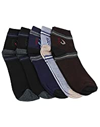 Mikado Multi Colour Cotton Ankle Socks for Men - 3 Pair Pack