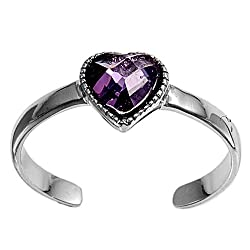 Sterling Silver Fashion Toe Ring - Heart with Amethyst CZ - 2mm Band Width