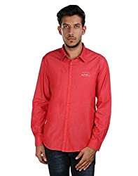 Oxemberg Men's Solid Casual 100% Cotton Red Shirt