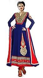 Zeel Fashion Women's Georgette Unstitched Dress Material (zf06_Blue_Free Size)
