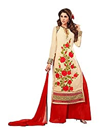 Amyra Women's Georgette Dress Material (AC794-02, Beige)