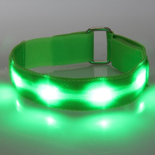 WalGap Silicone Lightweight Safety Flashing LED Light up Led Armband - WalGap (TM) (Green)
