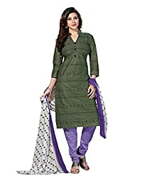 Drapes Women's GreenCotton printed Dress Material (Unstitched) (DF1352, Green)