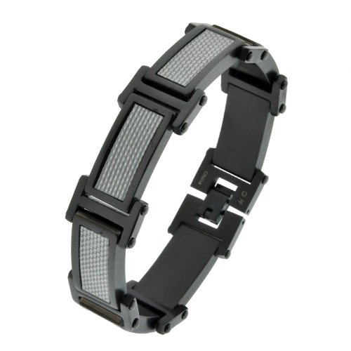 Stainless Steel Silver Carbon Fiber and Black Ionic Plating Link Bracelet, 8.5″
