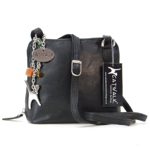 Catwalk Collection Leather Cross-Body Bag- Lena