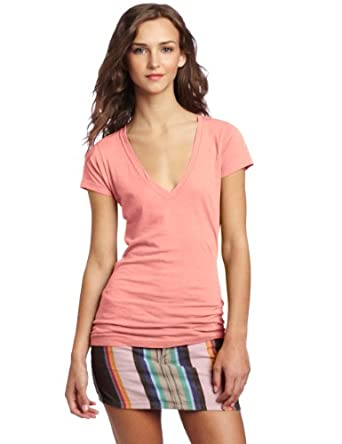 Hurley Juniors Solid Perfect V Heather Short Sleeve Tee, Heather Grapefruit, Small