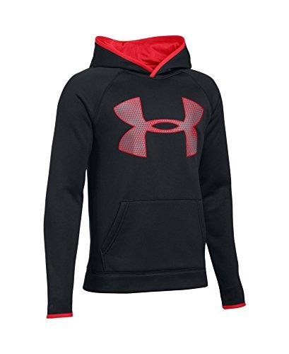 Under Armour Boys' Storm Armour Fleece Highlight Big Logo Hoodie, Black (002), Youth Large