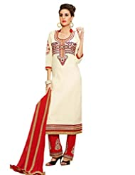 Inddus Women White & Red Embroidered Unstiched Dress Material