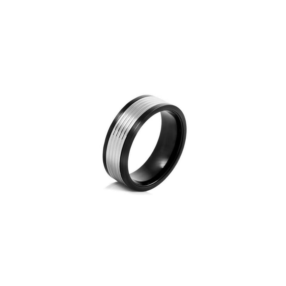 MENS Silver Black Stainless Steel Striped Rings Wedding