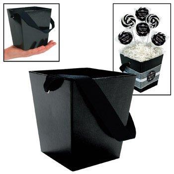Fun Express Black Cardboard Bucket with Ribbon Handle (6 Piece)