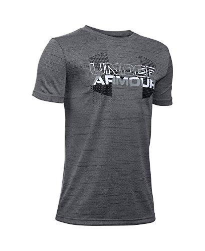 Under Armour Boys' Tech Big Logo Hybrid T-Shirt, Graphite (040), Youth Small