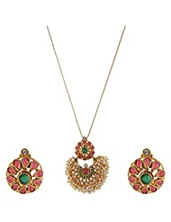 Ganapathy Gems Polki Work With Green And Ruby Stones Pendant Set