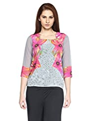 Fashion205 Printed Georgette Grey And Pink Top - B010292XZI