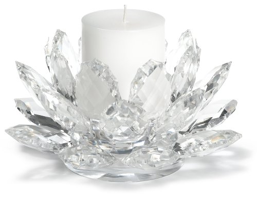 Crystal Lotus Pillar Candle Holder with Candle by Godinger