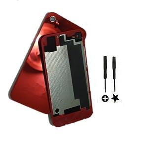 Globetradeexpert New Mirror Red Battery Cover Back Door Rear Glass Housing Complete Set OEM FOR iPhone 4 Verizon CDMA