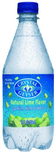 Crystal Geyser Sparkling Water Lime, 18 Ounce (Pack of 24)